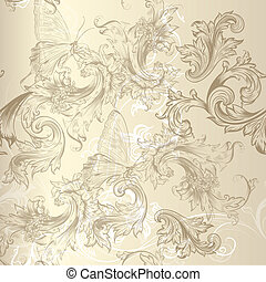 Seamless vector floral pattern in vintage style for design -...