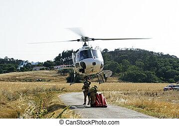 bomberos, lucha, inmenso, bushfire
