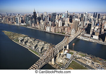 Queensboro Bridge, NYC - Aerial view of Queensboro Bridge in...