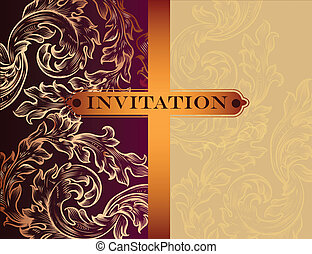 Vintage vector invitation card - Elegant classic wedding...
