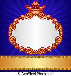 royal background with golden crown and ornaments