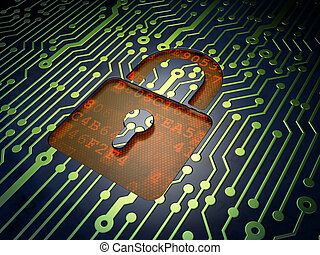 Security concept: Closed Padlock on circuit board background