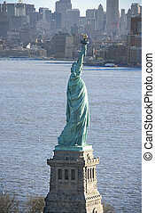 Statue of Liberty. - Aerial view of Statue of Liberty with...