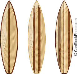 vintage surfboards - wooden surfboards isolated on white...