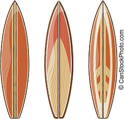 surfboards isolate - wooden surfboards isolated on white...