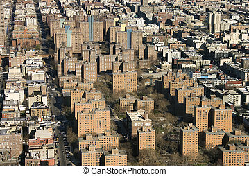 New York City. - Aerial view of buildings in New York City.