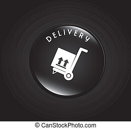 free delivery - transport button over black background...
