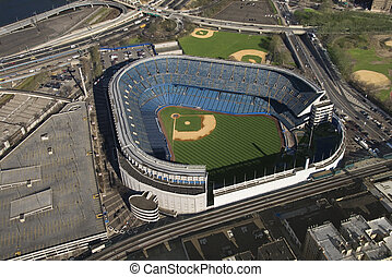 Yankee Stadium - Aerial view of Yankee baseball Stadium in...
