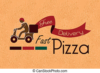 fast pizza over vintage background vector illustration