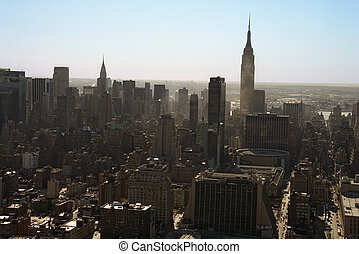Manhattan, NYC - Aerial view of Manhattan city skyline, New...