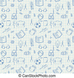 Seamless school pattern doodles on math paper - Seamless...