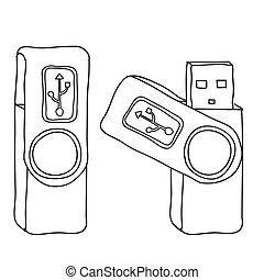 usb memory over white background vector illustration