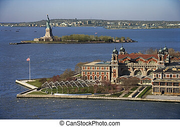 Ellis Island - Aerial view of Ellis Island with Statue of...