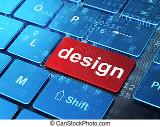 Marketing concept: Design on computer keyboard background -...