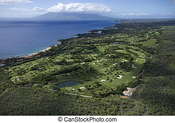 Golf course on Maui. - Aerial of golf course on Maui, Hawaii...