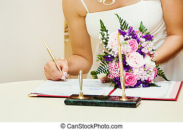 the bride signs the certificate