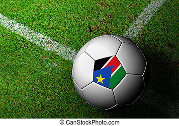 South Sudan Flag Pattern of a soccer ball in green grass