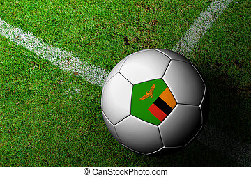 Zambia Flag Pattern of a soccer ball in green grass