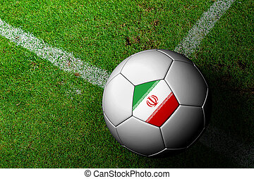 Iran Flag Pattern of a soccer ball in green grass
