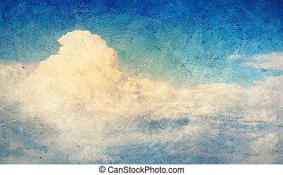Cloudy sky - Old painting with cloudy blue sky as a...