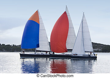 Three color sails - Yachts with three color sails