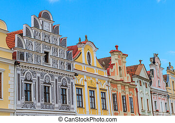 Facade of Renaissance houses in Telc, Czech Republic a...
