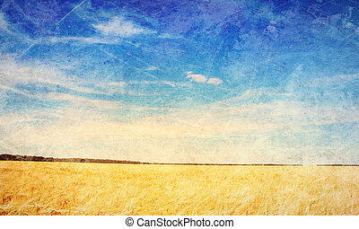 Countryside landscape - Old painting with a summer...