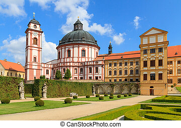 Jaromerice Palace, cathedral and gardens in Southern...