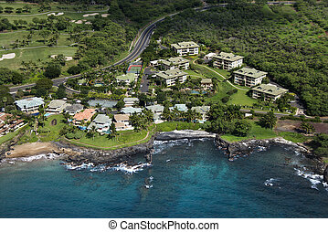 Houses on coast. - Aerial of houses clustered by Maui,...