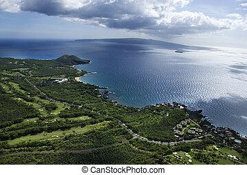 海岸線,  maui, ハワイ \