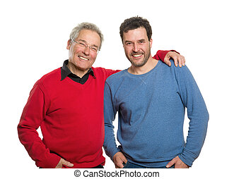 Senior and mature adult, two generations portrait