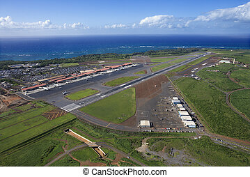 Maui, Hawaii airport - Aerial view of Maui, Hawaii airport...