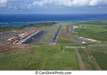 Maui, Hawaii airport. - Aerial view of Maui, Hawaii airport...