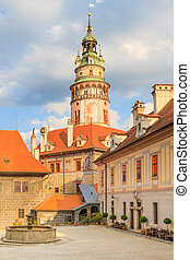 Cesky Krumlov / Krumau, View on Castle Tower, UNESCO World...