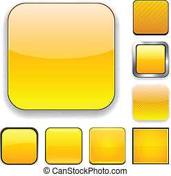 Square yellow app icons - Set of blank yellow square buttons...