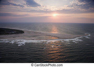 Aerial of shoal - Scenic Bald Head Island North Carolina...