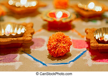 Hindu marigold new year divali - Horizontal color landscape...
