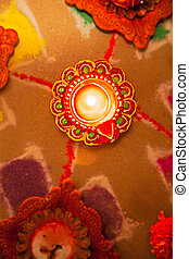 Hindu divali new year hol - Color portrait and overhead...