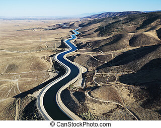 Aerial of aqueduct - Aerial view of water carrying aqueduct...