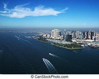 San Diego, CA coast. - Aerial view of buildings on coast in...