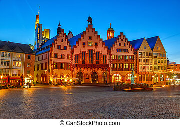 Historic Center of Frankfurt at night