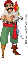 Cartoon pirate with parrot - Illustration of cartoon pirate...