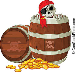 Pirate skeleton - Pirate skeleton gets out of the barrel