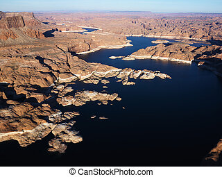 Aerial of Lake Powell. - Aerial view of Lake Powell and Glen...