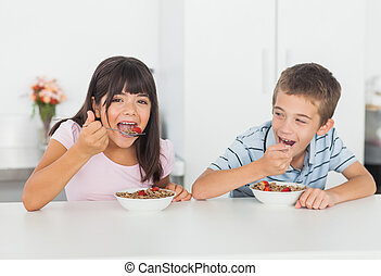 Siblings eating cereal for breakfast in kitchen at home