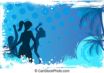 Grunge background with dancing party people