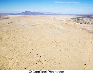 Desert and mountains. - Aerial view of remote California...