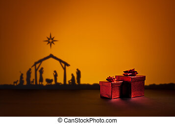 Birth Jesus with present - Birth Jesus silhouette of the...