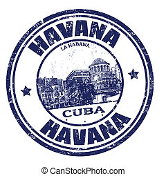 Havana stamp - Blue grunge rubber stamp with the name of...