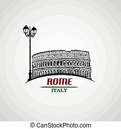 Rome poster - Rome in vitage style poster, vector...